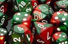 """Gemini Green-Red/White 12mm d6 dice set (36)