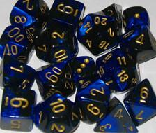 """Gemini Black-Blue/Gold Black 12mm d6 dice set (36)