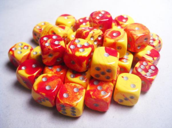 """Gemini Red-Yellow/White 12mm d6 dice set (36)