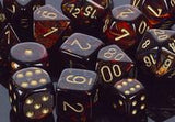 """Scarab Blue Blood/Gold Polyhedral dice set (7)