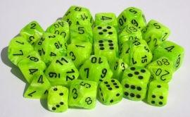 """Vortex Bright Green/Black 16mm d6 dice set (12)