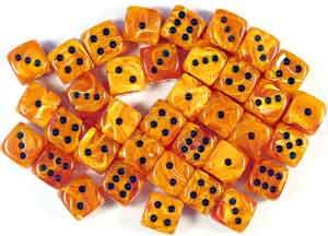 """Vortex Orange/Black 12mm d6 dice set (36)