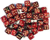 """Vortex Burgundy/Gold 12mm d6 dice set (36)