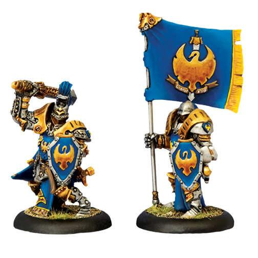 Warmachine Cygnar Sword Knight Officer & Standard WEB
