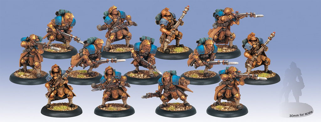 Warmachine Cygnar Trenchers with Three Weapon Attachments PLASTIC Unit (13) WEB