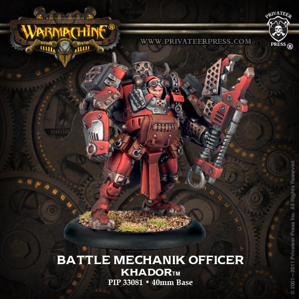 Warmachine Khador Battle Mechanik Officer Battle Mechanik Unit Attachment WEB