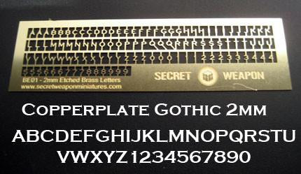 Secret Weapon Brass Etch Letters: 2mm Copperplate Gothic
