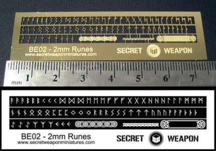 Secret Weapon Brass Etch Letters: 2mm Runes