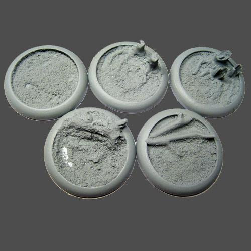 """Secret Weapon Round Lip: 40mm Blasted Wetlands Bases (5)
