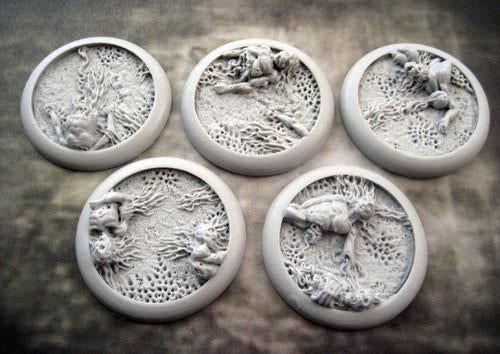 """Secret Weapon Round Lip: 40mm Corpse Fields Bases (5)