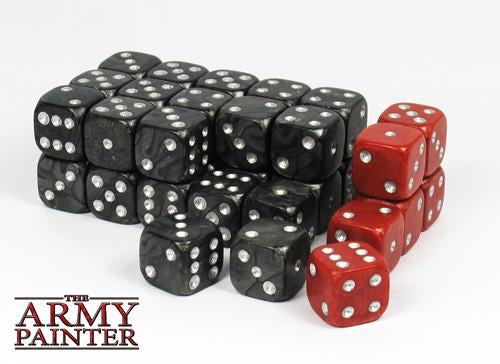 """Army Painter: Wargaming BLACK Dice (red secondary)