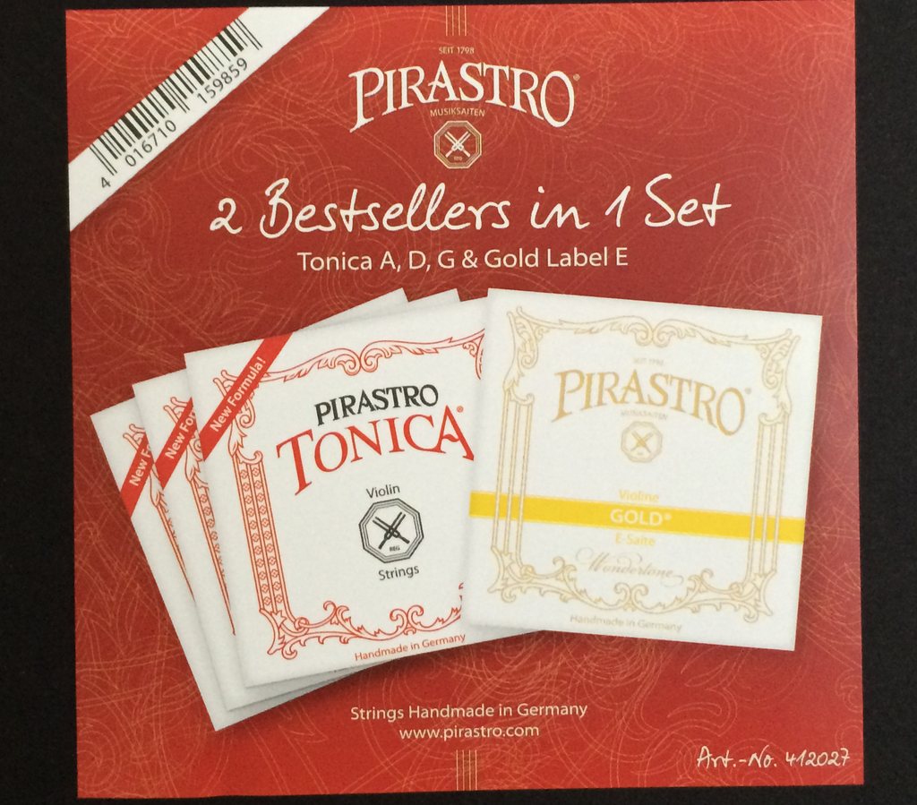 New Tonica Violin Set A, D, G with Pirastro Gold Label E Ball End 4/4