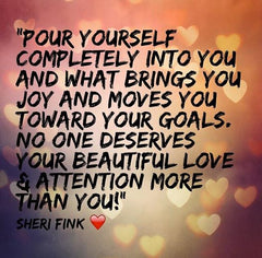 Self-love affirmation. Inspirational quote by best-selling children's author Sheri Fink