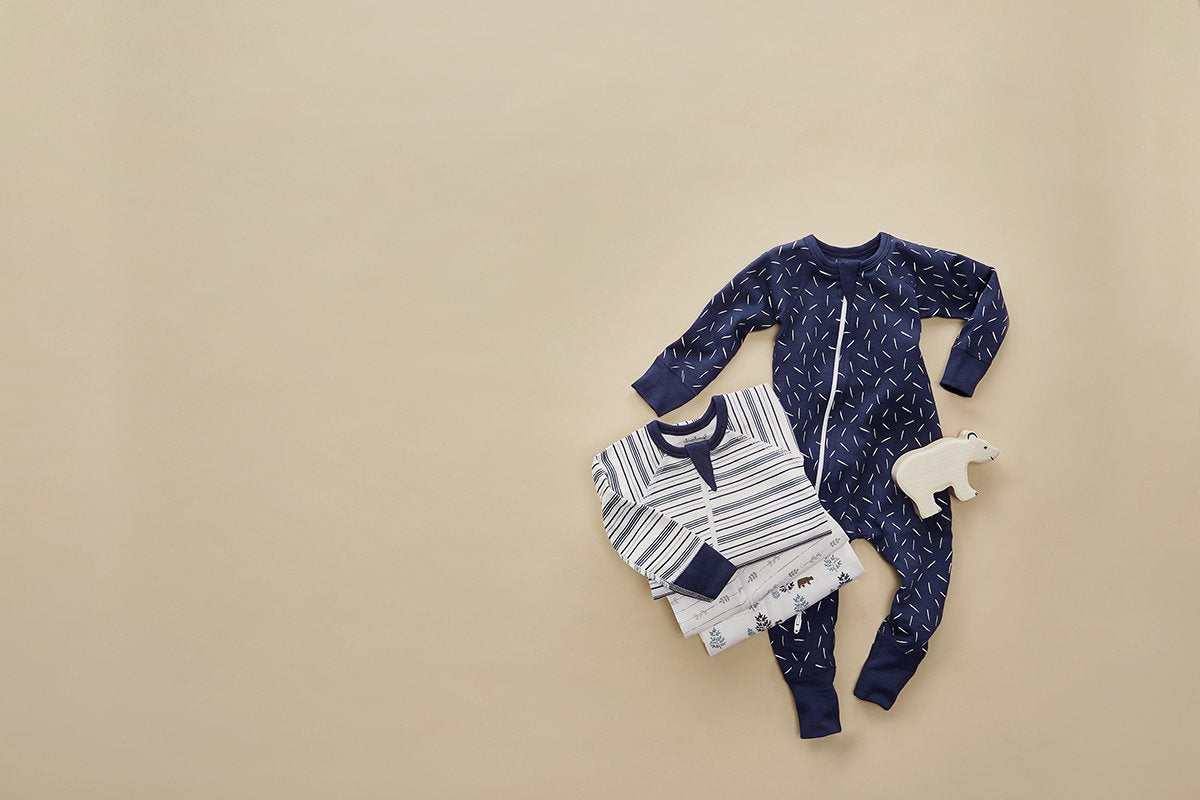 Boy Field Stripe Zip Romper - Sapling Organic Baby Clothes