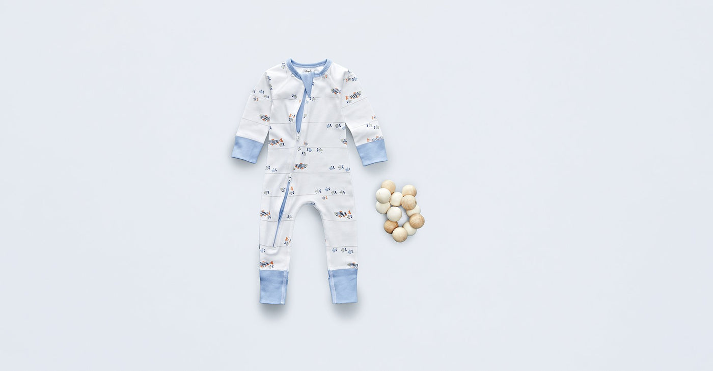 Water Baby Zip Romper - Sapling Organic Baby Clothes