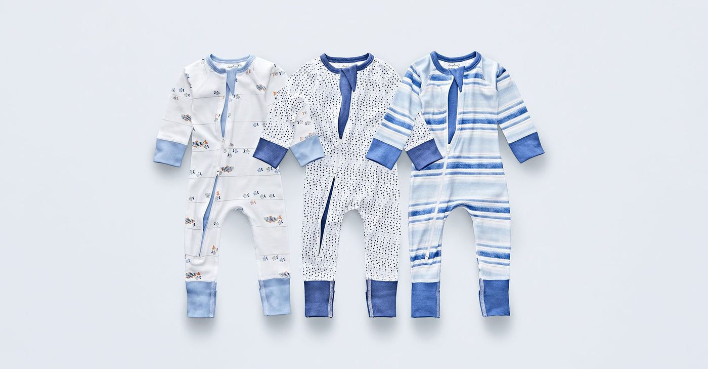 Blue Stream Zip Romper - Sapling Organic Baby Clothes
