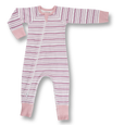 Girl Field Stripe Zip Romper - Sapling Organic Baby Clothes