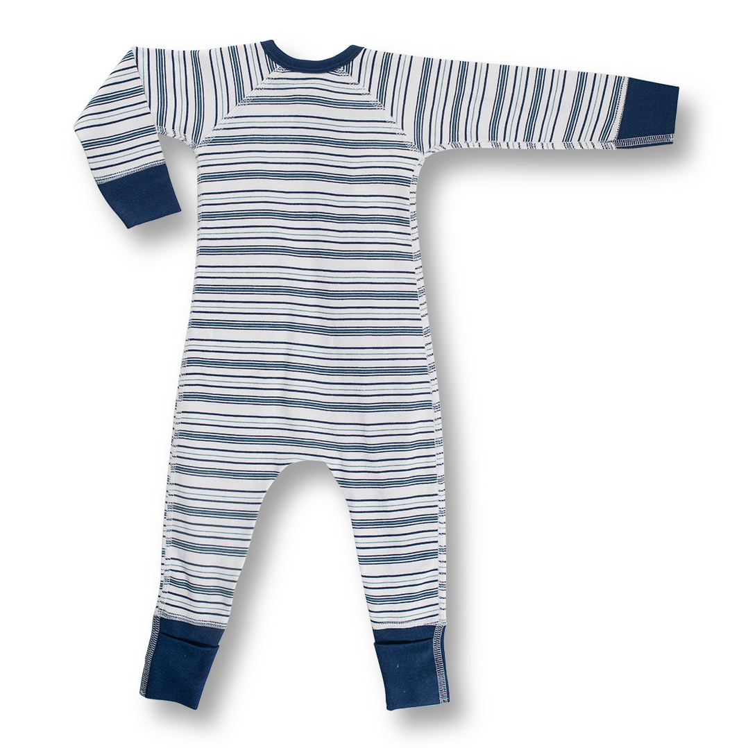 Boy Field Stripe Zip Romper - Sapling Child Australia