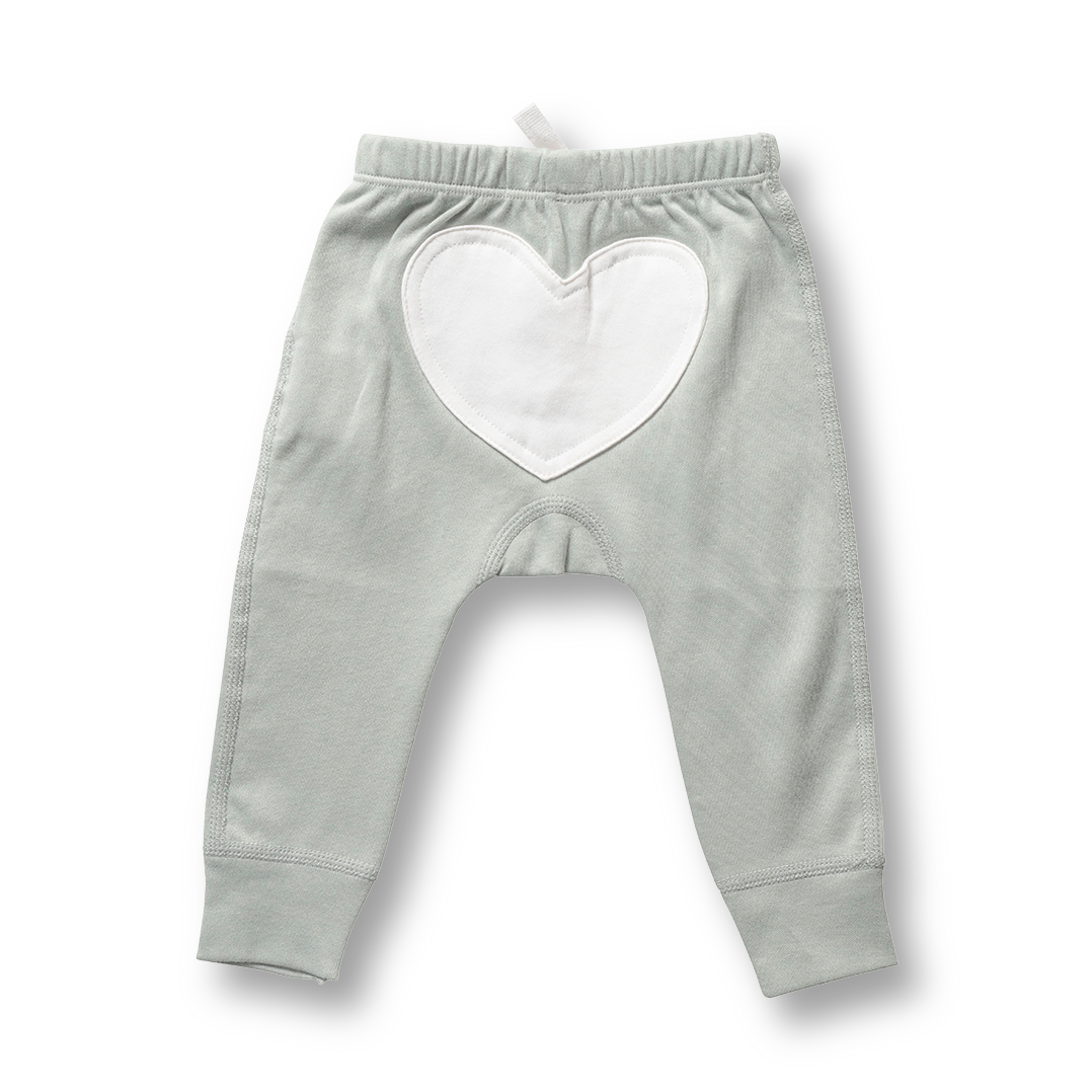 Wooded Grey Heart Pants - Sapling Organic Baby Clothes