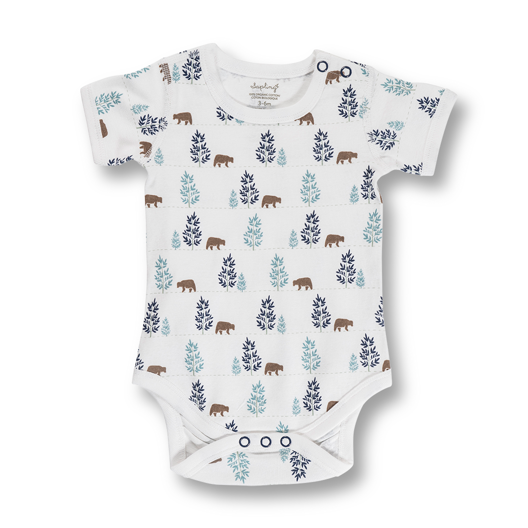 Bear Short Sleeve Bodysuit - Sapling Organic Baby Clothes