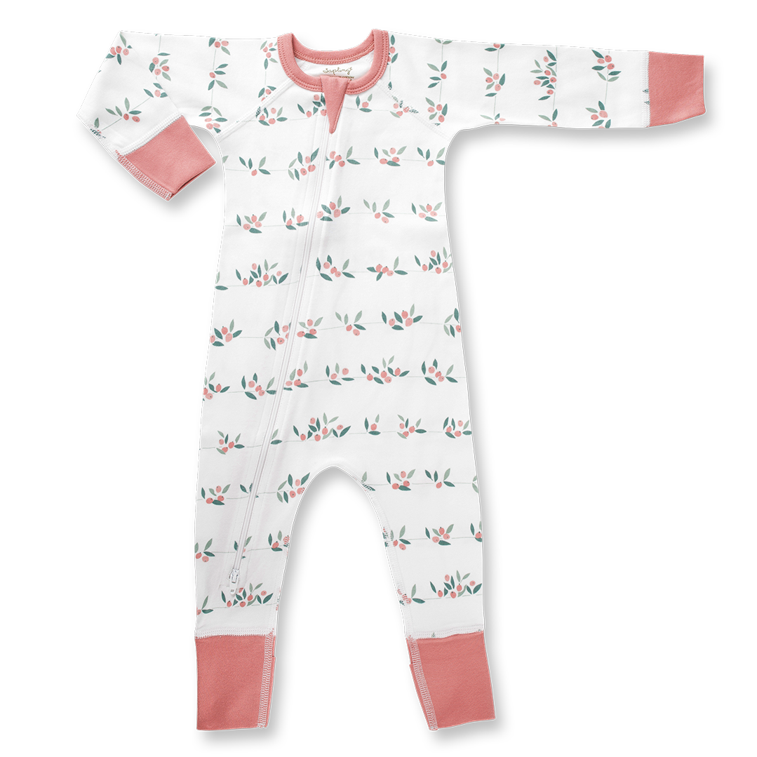 Berry Buds Zip Romper - Sapling Organic Baby Clothes