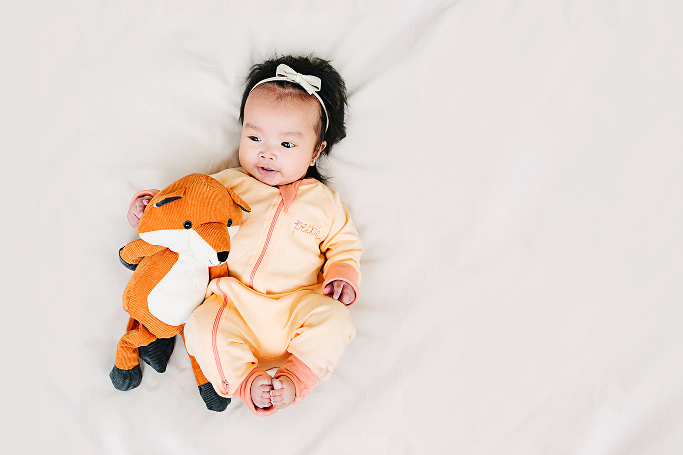 Peaches Zip Romper - Sapling Organic Baby Clothes