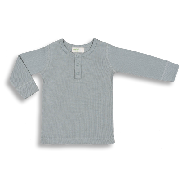 Alpine Grey Waffle Long Sleeve Tee - Sapling Organic Baby Clothes