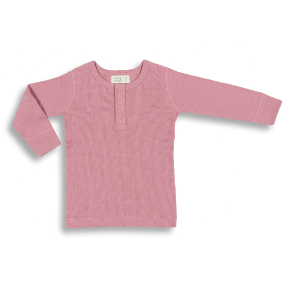 Bramble Pink Waffle Long Sleeve Tee - Sapling Child Australia