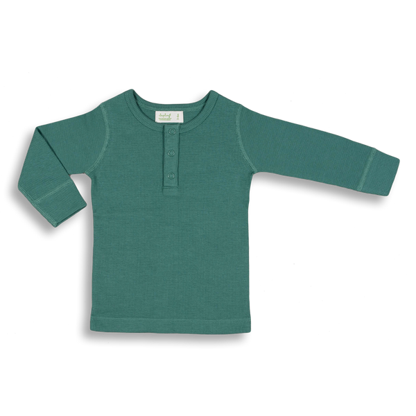 Spruce Green Waffle Long Sleeve Tee - Sapling Organic Baby Clothes