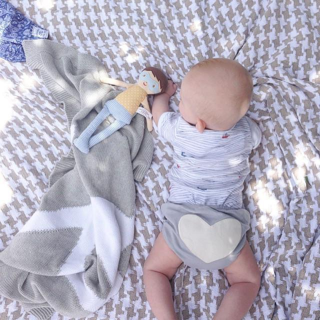 Dove Grey Heart Bloomers - Sapling Organic Baby Clothes