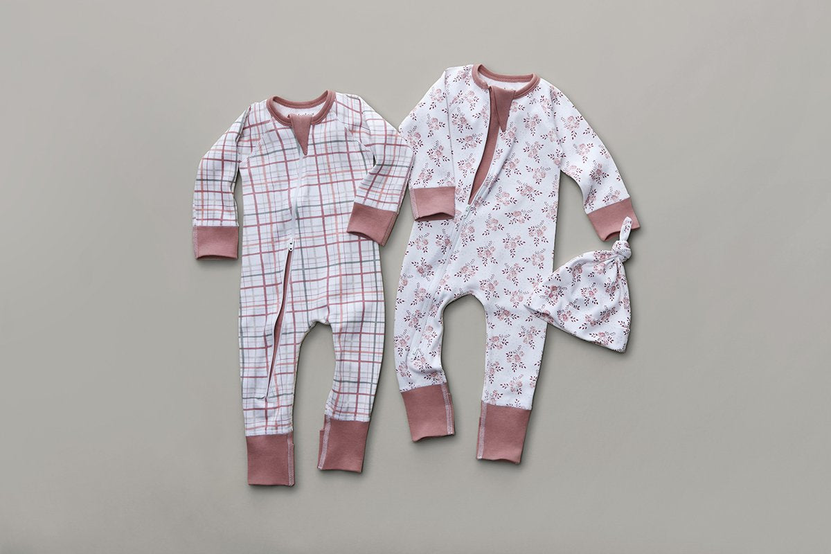 Blush Plaid Zip Romper - Sapling Child Australia