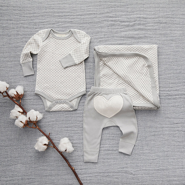 Dove Grey Heart Pants - Sapling Organic Baby Clothes