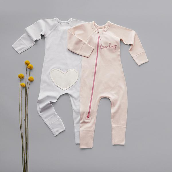 Love Bug Grey Zip Romper - Sapling Child Australia