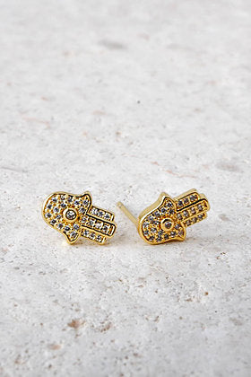 Fatimas Hand Earrings in Gold