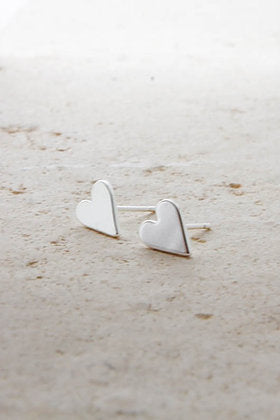 Heart in Silver Earrings