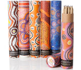 Pencils sets in aboriginal art tubes.