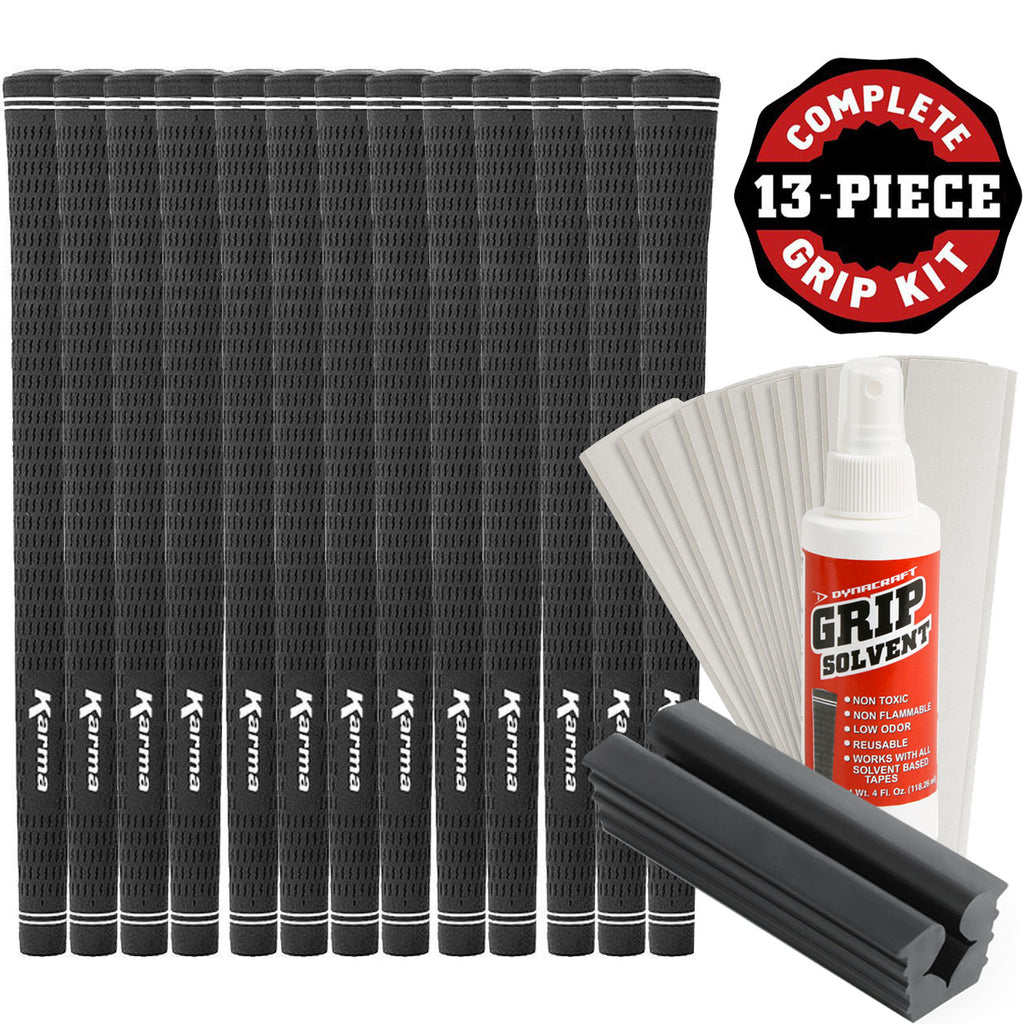 Karma Velour Black Golf Club Grip Kit (13 Grips, Solvent & Double Sided Tape)