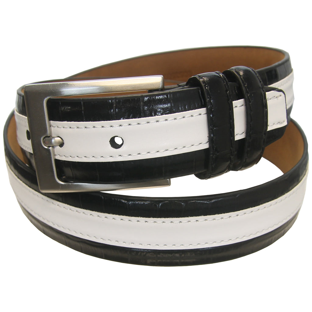 PGA Tour Golf Men's Wide Stripe Leather Belt