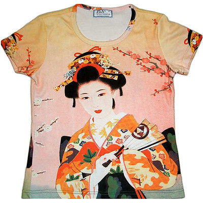 Geisha with Sensu Japanese Art Print T-shirt Misses Cap Sleeve S M L XL