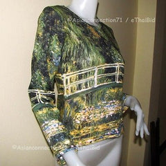 Monet WATER LILY POND Long Sleeve Impressionist Art T Shirt Misses S M L XL New
