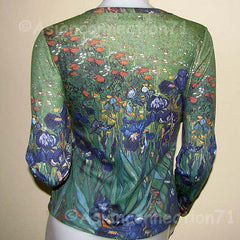 IRISES Van Gogh Long Sleeve Post Impressionist Fine Art Print T Shirt Misses S M L XL