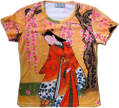 RED KIMONO SAKURA Japanese Art Print T Shirt Miss Cap Sleeve S,M,L,XL