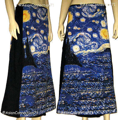 Van Gogh STARRY NIGHT New Freesize Fine Art Print Long Cotton Wrap Skirt S-XL