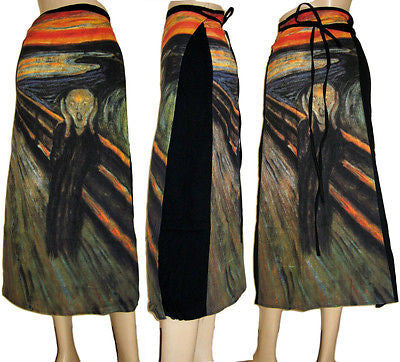 THE SCREAM Edvard Munch Freesize Fine Art Print Long Cotton Wrap Art Skirt S-XL