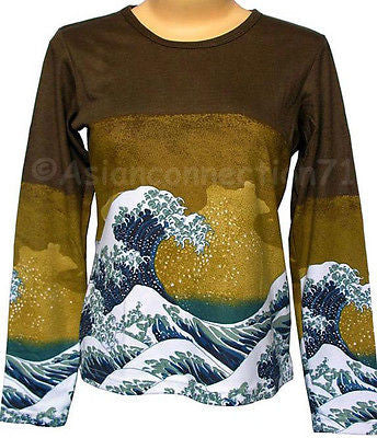 GIANT WAVE Hokusai LONG SLEEVE Japanese Ukiyoe Art T Shirt Misses S M L XL