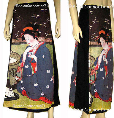 GEISHA with TEA Japan Ukiyoe Art Print Freesize Long Cotton Wrap Skirt Freesize S-XL