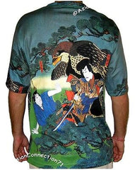 HAYABUSA SAMURAI Japan Ukiyoe Fine Art Print Short Sleeve T Shirt Mens M L XL PN