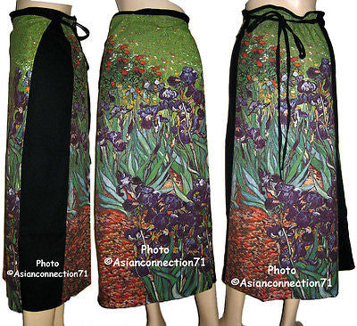 Vincent Van Gogh IRISES Freesize Fine Art Print PN Long Cotton Wrap Skirt S-XL