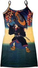 KABUKI Japanese UKIYOE Art Print Dress Misses S M L XL