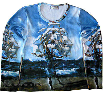 Salvador Dali THE SHIP New LONG SLEEVE Fine Art Print T Shirt Misses S,M,L,XL PN